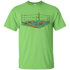 Wrestling Ring Word Cloud - Superstars Moves Raw Smackdown Ropes TShirt