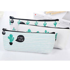 Cactus Canvas Pencil Stationery Case Box Cosmetic Makeup Coin Pouch Zipper Bag