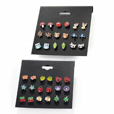 9 Pairs/set Cute Women Fashion Earrings Stud Jewelry Fruit Animal Birthday Gift