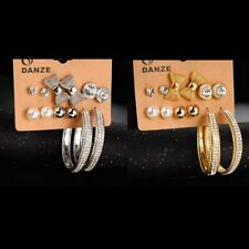 6 Pairs/set Earrings Stud Women Fashion Ear Hoop Pearl Crystal Jewelry Gift Hot