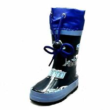 Little Boys Navy Blue tractor drawstring top wellington wellies rain boots NEW