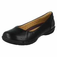 LADIES CLARKS BLACK LEATHER UNSTRUCTURED SLIP ON FLAT PUMPS SHOES UN HEARTH