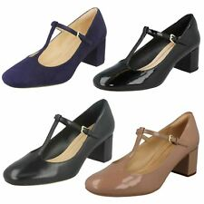 LADIES CLARKS LEATHER PATENT T BAR HEELED FORMAL DRESS COURT SHOES ORABELLA FERN