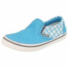 CROCS BOYS SLIP ON TRAINERS IN BLUE WITH WHITE DOG TOOTH PATTERN - HOVER SNEAK