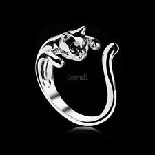 Silver Color Cat Shaped Lovely Kitten Tail Open Rings with Black LM