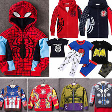 Kids Boys Heroes Spider-man Sweatshirts Hooded Coats T-shirt Pant Outfits Set