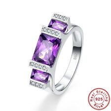 Noble Emerald Cut Amethyst & White Topaz S925 Sterling Silver Ring Size 6 7 8 9