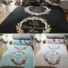 Luxury LIVE & DREAM Duvet Quilt Cover Bedding Set with Pillowcases
