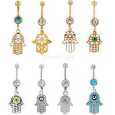 Stainless Steel Navel Ring Crystal Fatima Hand Palm Dangle Button Belly Piercing