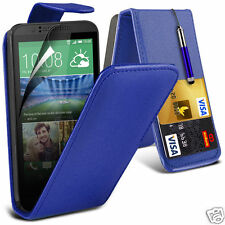 PU Leather Card Slot Flip Case Cover & LCD Film & Stylus Pen For HTC Desire 320