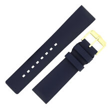 Hirsch PURE Natural Caoutchouc Rubber Waterproof Watch Strap and Buckle in BLUE