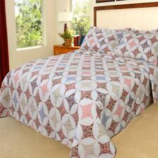 White Multi Country Vintage Antique Look Floral Printed Quilt Shams Bedding Set