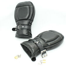 Deluxe Lockable Leather Padded Lined Locking Fist Mitts Gloves Restraint Mittens