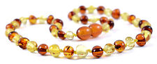 Genuine Baltic Amber Teething Necklace - Cognac/Lemon Round Beads