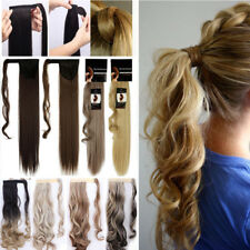 "17""-26"" Long Lady Wrap Around Ponytail Clip In Hair Extensions Brown Mixed T88"