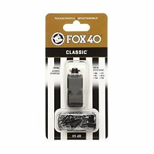 FOX 40 Classic Black Official Pealess Referee Whistle & Lanyard football sports