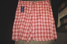 IZOD THE DRIVER MENS FLAT FRONT CASUAL/GOLF SHORTS MULTI-COLOR PLAID 3 SIZES NWT