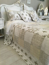 KING SIZE  PATCHWORK QUILT 100% COTTON BEDSPREAD NATURAL COLOURS WHITE CREAMS