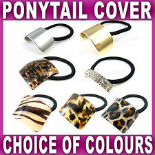 PONYTAIL COVER Black Hair Elastic band Cuff Ring Style Holder Gold Silver Tort