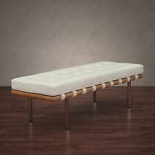 Andalucia Modern White Leather Bench (50 in.) New