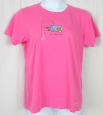 NWT Life is Good Womens Classic Fit Pink Tee Girl's Night Out Cotton T-Shirt M-L