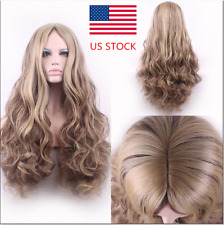 US Women Long Wavy Curly Flaxen Blonde Halloween Party Soft Hair Lace Full Wigs
