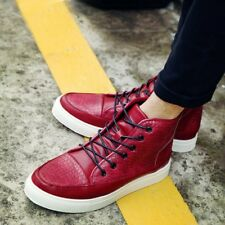 Fashion Men's High Top Sneakers Leather Boots Loafer Leisure Casual Shoes