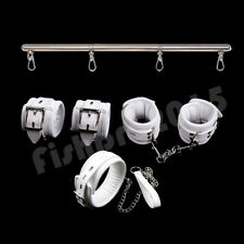 Bed Bondage Restraint Handcuff Wrist Ankle Cuffs Collar+Leg Spreader Bar Set Toy
