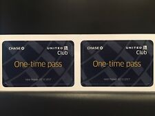 Two (2) United Airlines Club Airport Lounge One Time Passes - Expire 10/31/2017