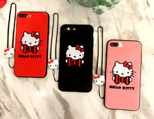 Cute Embroidery Hello kitty case cover for Apple iPhone 6 6S 7 / Plus + Lanyard