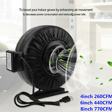 "Strong CFM 4"" 6"" 8"" Inch Inline Fan Hydroponics Exhaust Fan Duct Cooling Fan EW"