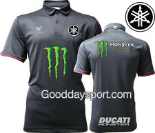 Monster energy Polo Shirt Thailand Versus Black Logo Yamaha,Monster cup,Ducati