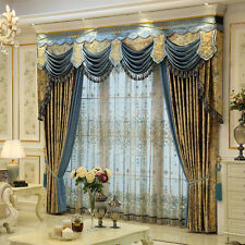 French Elegant Gold luxurious printing cloth blackout curtain valance tulle E803