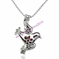 HY-K18 Silver Fly Flower Bird Oyster Pearl Beads Cage Locket Fit under 7mm Inner