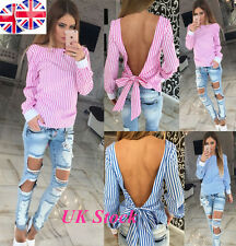 UK Womens Long Sleeve Striped Shirt Hollow Cut Out Back Bandage Party Top Blouse
