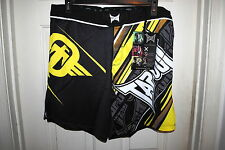 TAPOUT PERFORMANCE MMA FIGHT SHORTS BLACK AND YELLOW SIZE 32 34 36 RP $64.95 NWT