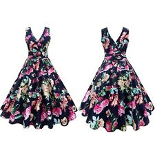 Ladies 1950's Floral Retro Vintage Rockabilly Pin Up Party Cocktail Swing Dress