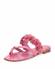 $795 New Manolo Blahnik SUSAFIOR Floral Flowers Pink Flats Sandals Shoes 40.5 41