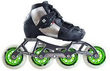 ATOM SKATES - LUIGINO KID'S BLACK CHALLENGE - 4 WHEEL INLINE SPEED SKATE PACKAGE