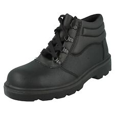 MENS UNBRANDED GRAIN LEATHER LACE UP STEEL TOE CAP SAFETY ANKLE BOOTS BLACK M27