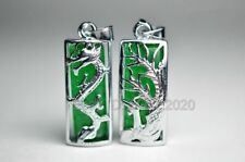 Beautiful Green Jade Inlay Carved Dragon Phoenix Pairs Lucky Pendant + Necklace