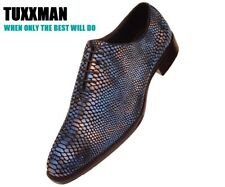 New Mens Blue Exotic Larry the Snake, Faux Snake skin Dress Shoes TUXXMAN