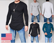Mens Long Sleeve Slim Fit Crew Neck Shirt Outdoor Sport Solid Basic Tee Blouse