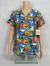"Med Couture Halloween Scrub Top Style 9424 Anna. ""Spooky Nights"" SPKN *NEW*"