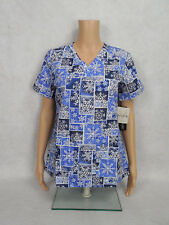 "Med Couture Christmas Scrub Top Style 9424 Anna. ""Snowflake Delight"" SNOW *NEW*"
