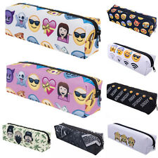 Women Emoji Brush Pen Pencil Case Stationery Pouch Makeup Cosmetic Bag Organizer