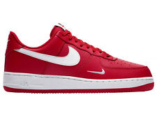 NEW MENS NIKE AIR FORCE 1 LOW BASKETBALL SHOES TRAINERS UNIVERSITY RED / WHITE