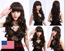 Womens Ladies Long Curly Wavy Wig Bangs Dark Brown Cosplay Party Full Wigs 65CM