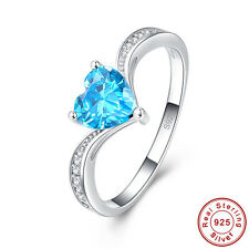 Engagement Heart Cut Blue & White Topaz S925 Sterling Silver Ring Size 6 7 8 9
