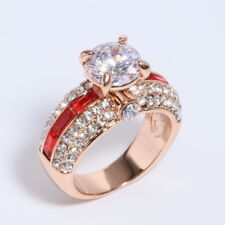 Vintage Round Cut Red CZ Rose Gold Plated Women Fashion Jewelry Ring J879